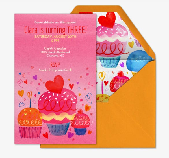 colorful birthday party invitation for clara