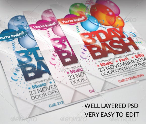 birthday party bash invitation