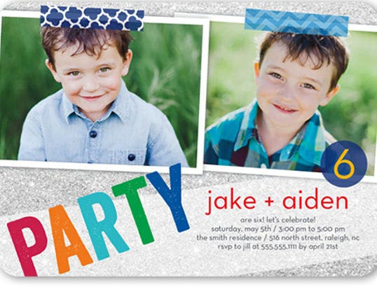 party sparkle twin birthday invitation