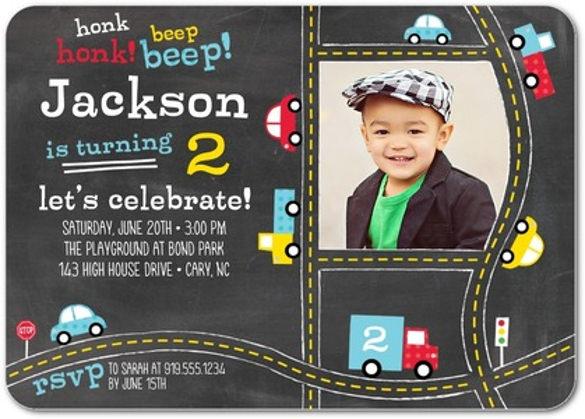 black birthay party invitations
