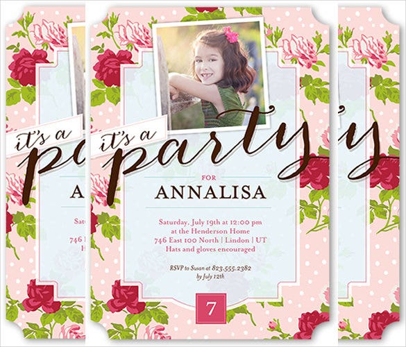 floral party birthday invitation template