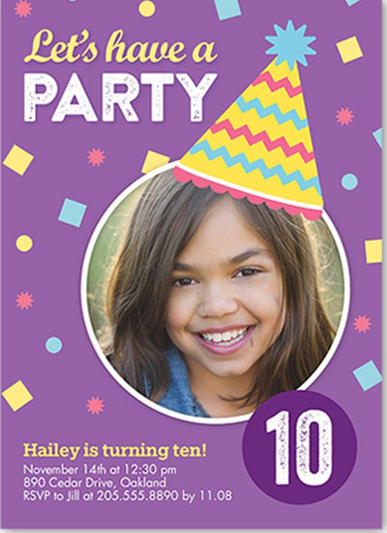confetti party girl birthday invitation