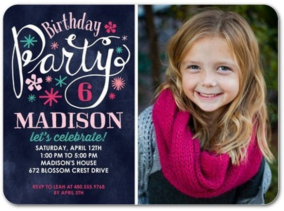 begonia birthday party invitation