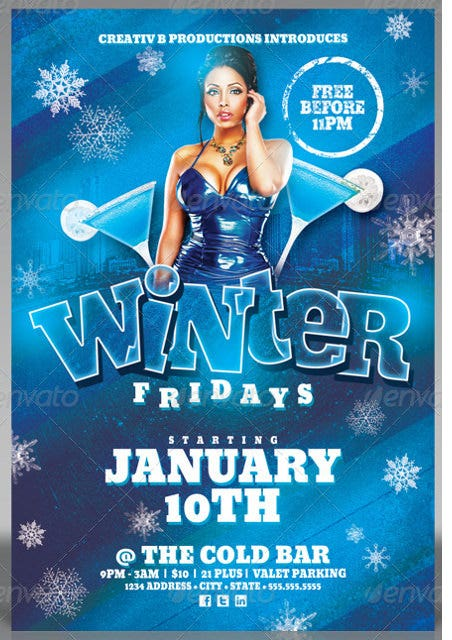 frozen friday party flyer template