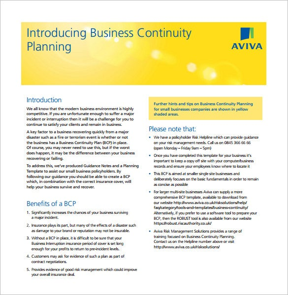 Business Continuity Plan Template Download Free Word PDF – Sample Business Continuity Plan Small Business
