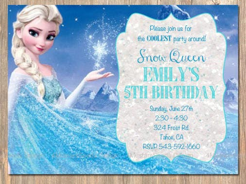 snow queen frozen party invitation