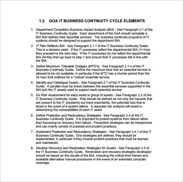 it business continuity plan sample pdf template free download