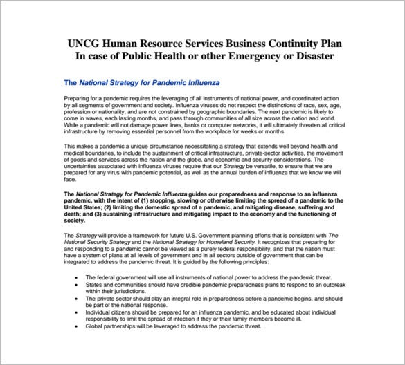 human resources plan sample business continuity plan word pdf