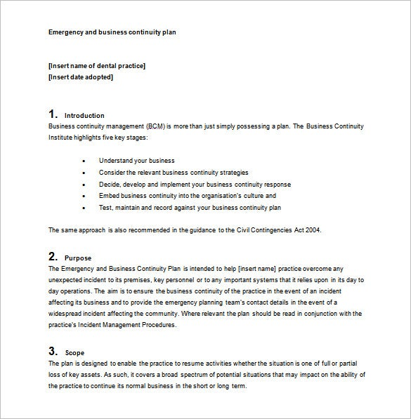 Business Continuity Plan Template Download Free Word PDF – Sample Business Contingency Plan