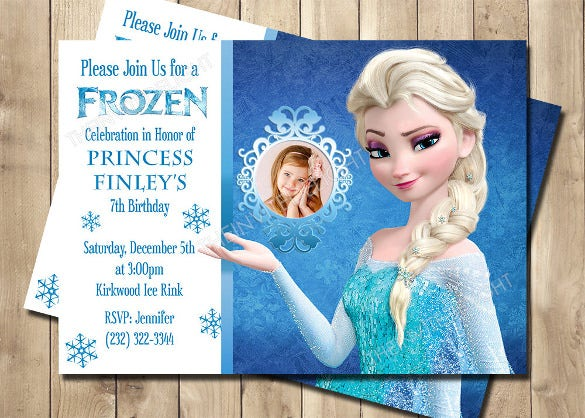 frozen birthday invitation snow flakes glitter effect invitation
