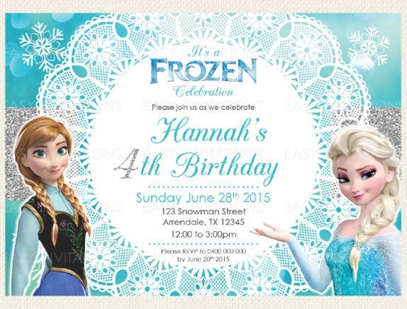 28 Frozen Birthday Invitation Template Frozen Birthday Party