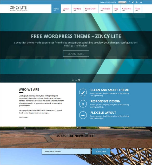 free business website wordpress template