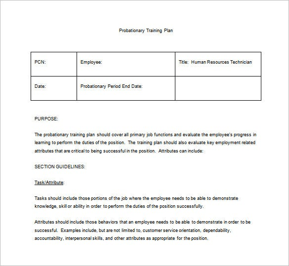 probationary training plan sample word template free download
