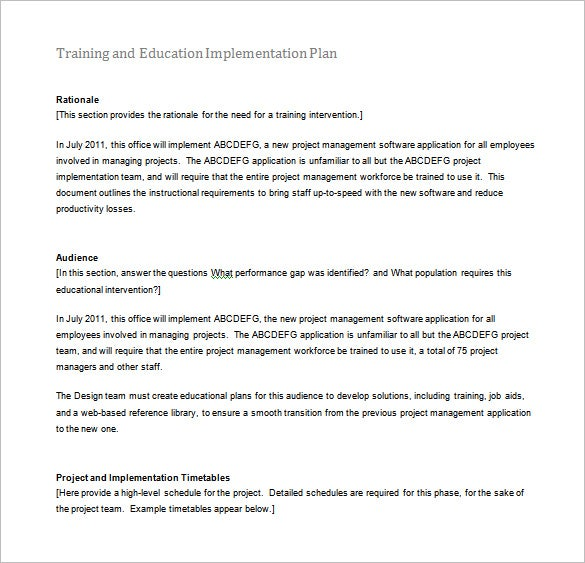 training and education implementation plan example word free download