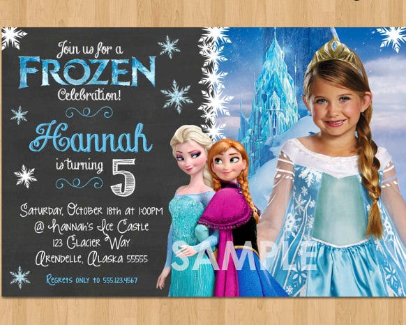 blue elsa frozen birthday invitation