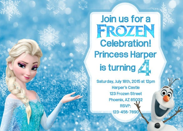 frozen chalkboard invitation for birthday