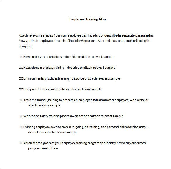 employee training plan sample word free download