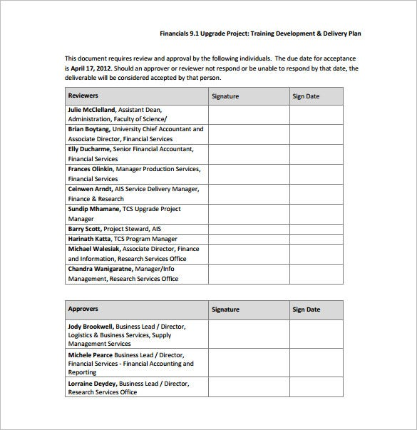 training development delivery plan sample pdf free download