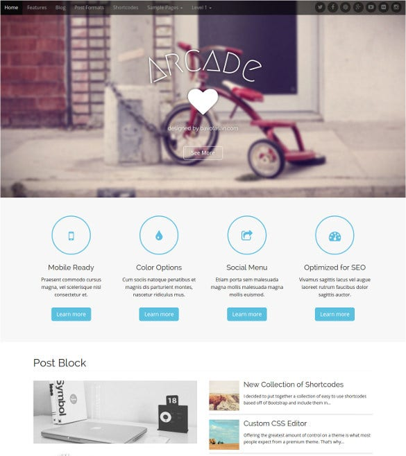 simple elegant free wordpress template 2016