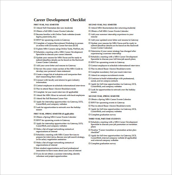 mba career development example pdf template free download