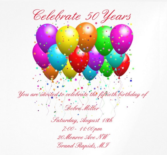 50th Birthday Balloons Invitations. Download  Birthday Invitations Free Download