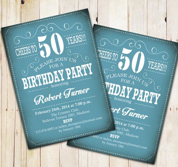 50th birthday printable invitation