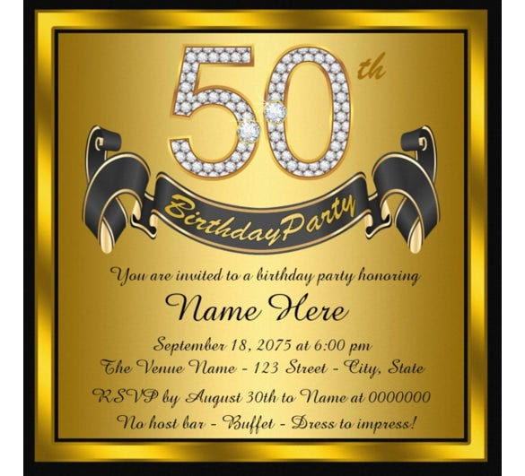 14 50th birthday invitations free psd ai vector eps format black and gold 50th birthday party invitation filmwisefo