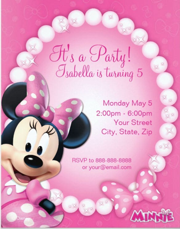 minnie mouse pink and white birthday invitation