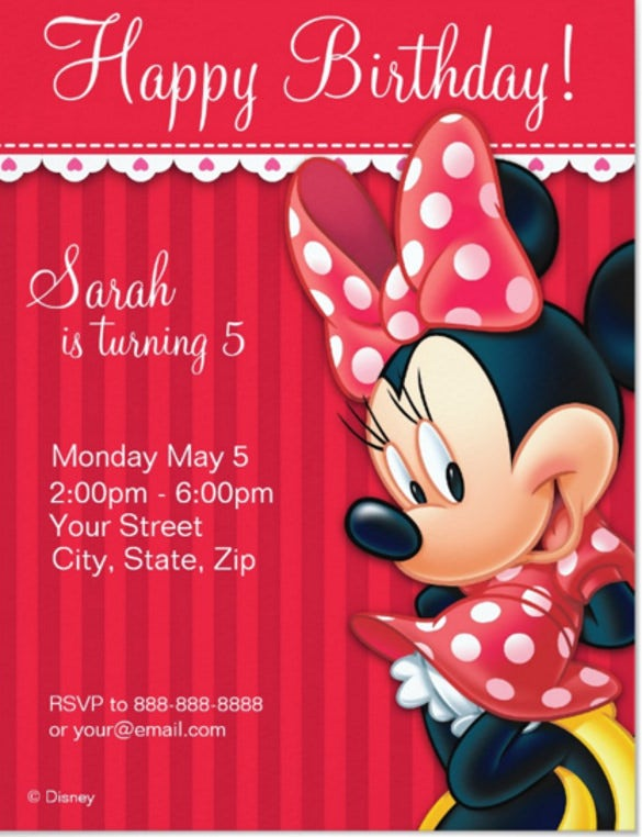 Minnie Mouse Red White Birthday Invitation