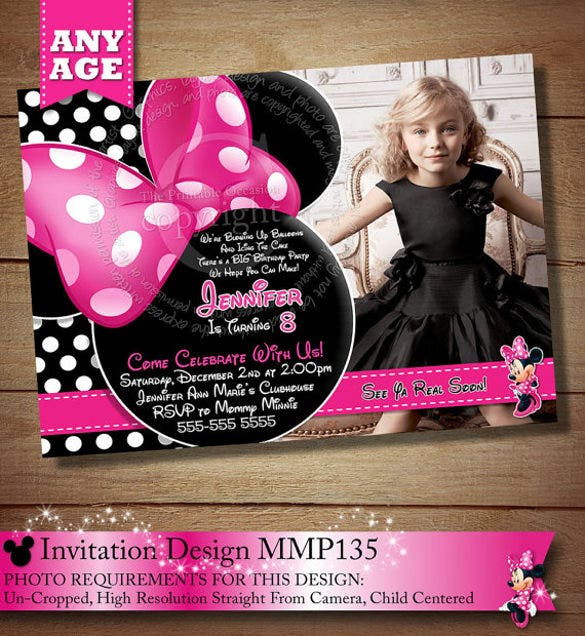 pink polka dot minnie mouse birthday invitation