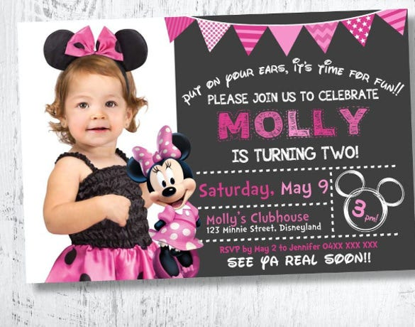 minnie mouse photo invitation for girl