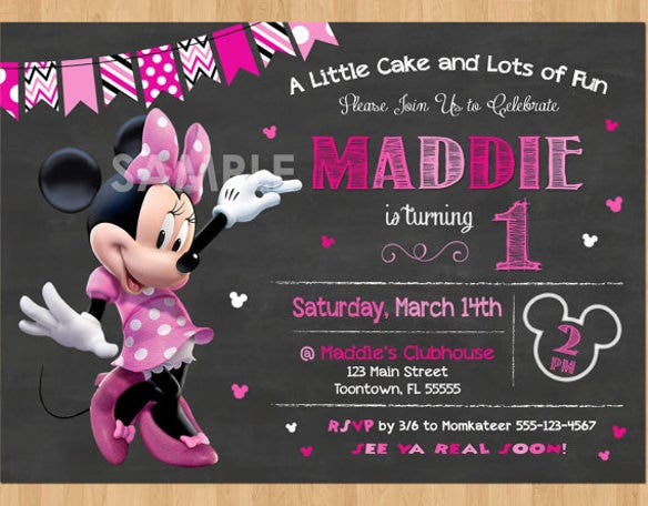 pink minnie mouse chalkboard invite party