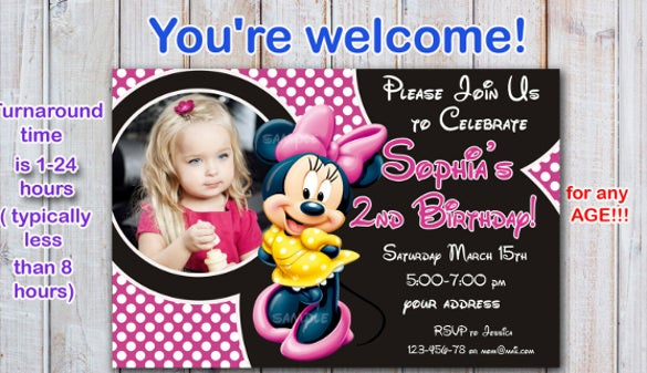 minnie mouse birthday card for baby