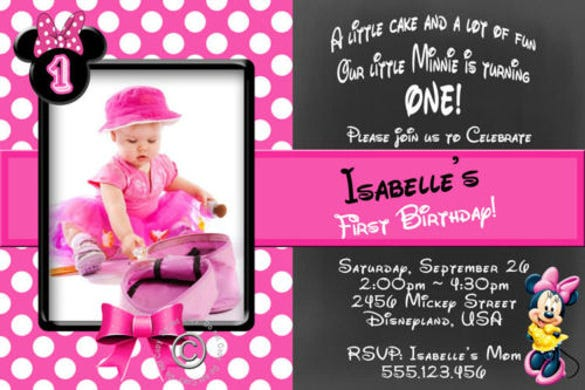 minnie mouse birthday invitation template   free psd, ai, Birthday invitations