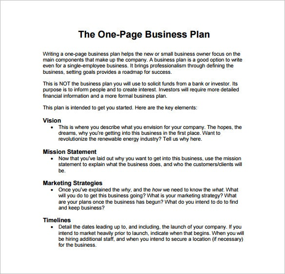 Free Business Plan Template Agency One Page Business Plan Template