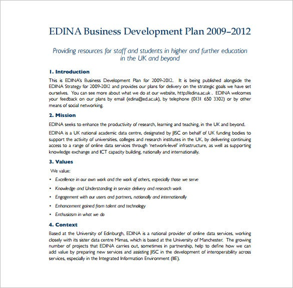 Sample Business Development Plan Free PDF Template Download