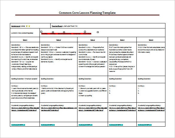 8 lesson plan templates free sample example format for Lesson plan template using common core standards