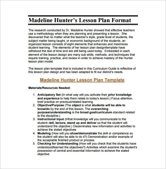 madeline hunter lesson plan example pdf free download