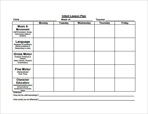 sample infant lesson plan template free download