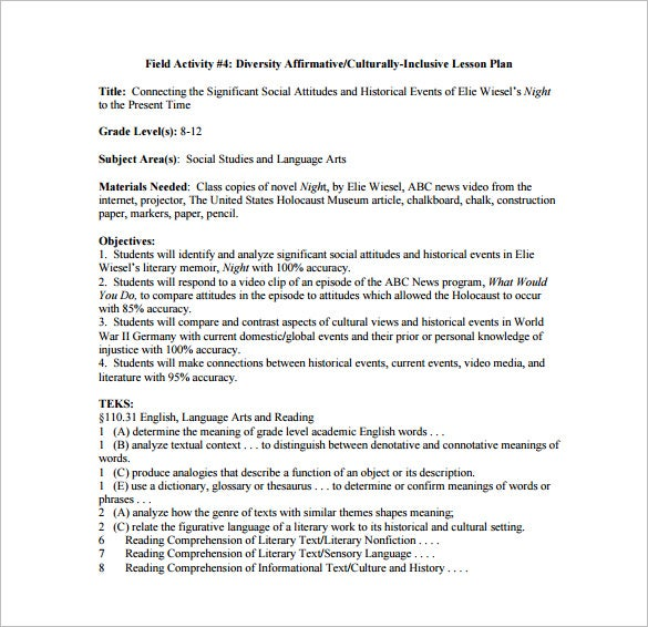 detailed lesson plan sample template free download