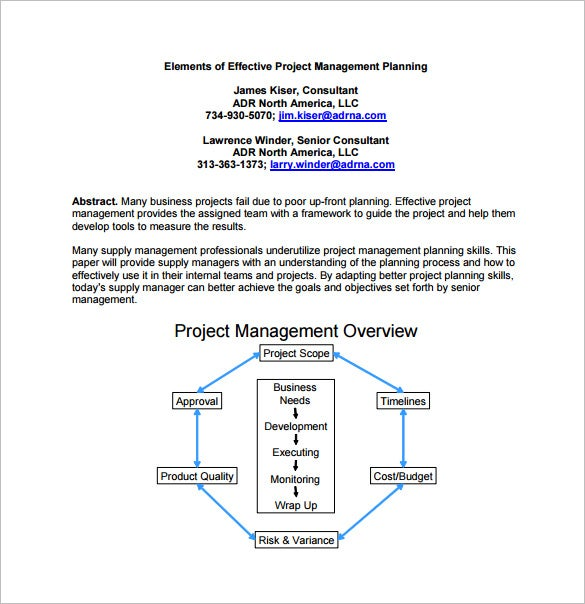 Wonderful Elements Of Effective Project Management Planning Free PDF Format Download