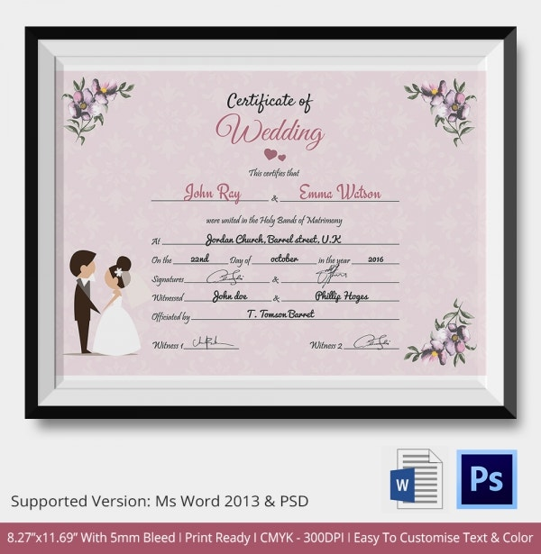 Beautiful Marriage Wedding Certificate Template Download