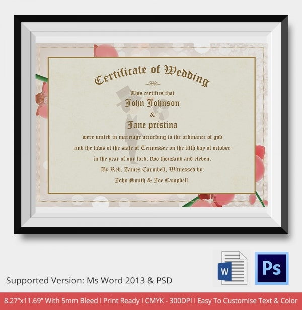Colorful Background Wedding Certificate Download