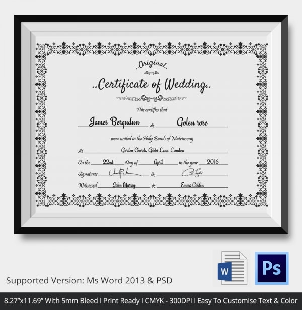 Easy To Edit Wedding Certificate Template Download
