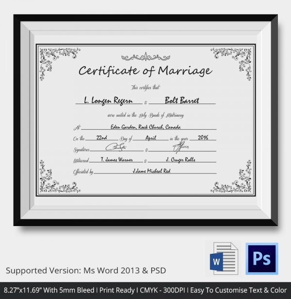 Print Ready Wedding Certificate Template Download