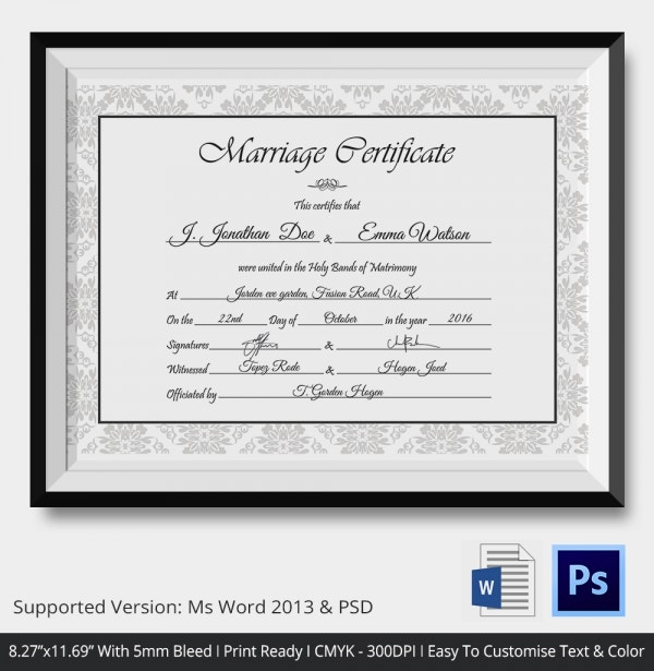 Simple & Clear Wedding Certificate Template Download