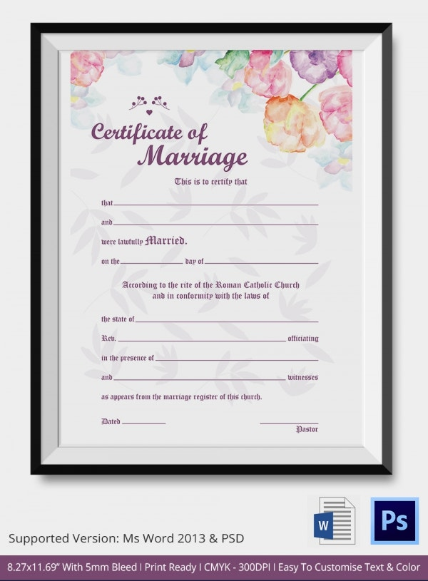 Water Colors Wedding Certifiacate Template Download