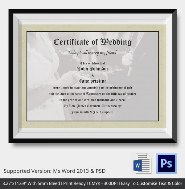 Wedding Certificate Template With Bridal Hands
