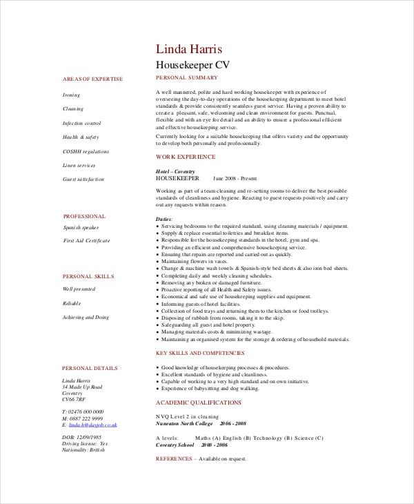 housekeeper cv examples uk
