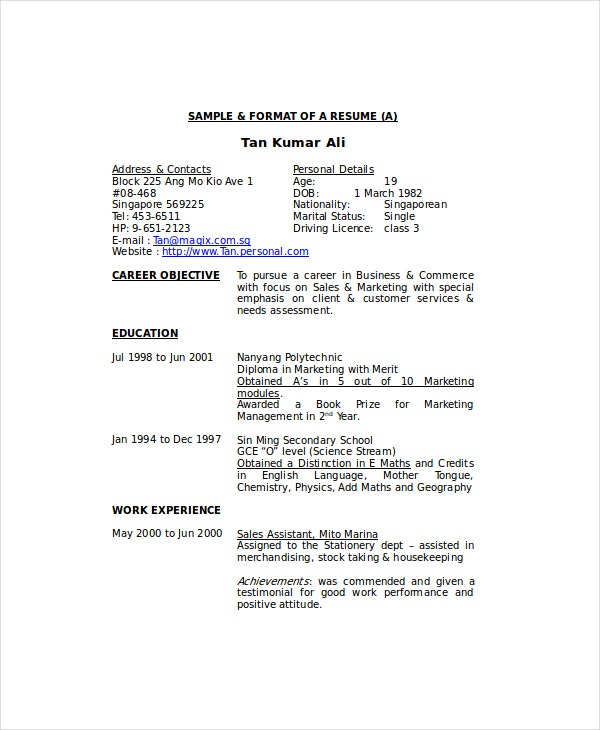 private housekeeper resume